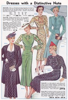 1930s dresses - spring fashions 1937 from the Searle's catalogue, in the History Wardrobe collection
