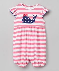 This Pink & White Stripe Whale Romper - Infant, Toddler & Girls is perfect! #zulilyfinds