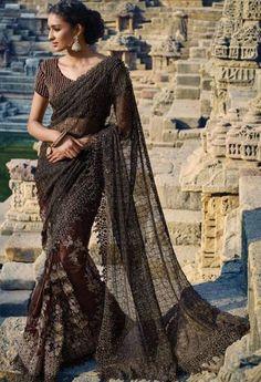 Brown Net Designer Saree..@ fashionsbyindia.com #designs #indian #fashion #womens #style #cloths #clothes #stylish #casual #fashionsbyindia #punjabi #suits #wedding #saree #chic #elegance #beauty #outfits #fantasy #embroidered #dress #PakistaniFashion #Fashion #Longsuit #FloralEmbroidery #Fashionista #Fashion2015 #IndianWear #WeddingWear #Bridesmaid #BridalWear #PartyWear #Occasion #OnlineShopping #sari