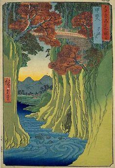 Monkey Bridge by Hiroshige