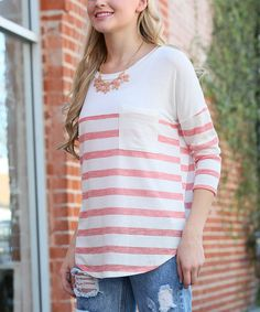 Look at this 42POPS Coral Stripe Scoop Neck Top on #zulily today!
