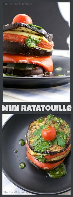 Ratatouille is my favorite vegetarian dish, plus it's so easy, fast, healthy and tasty. This version is a mini version, a tower of all the ingredients topped with a Spanish style salsa verde. #ratatouille #vegetarian #meatlessmonday