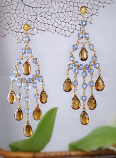 10 Off  Swiss Blue Topaz and Smoky Quartz Gold by delezhen on Etsy, $1700.00