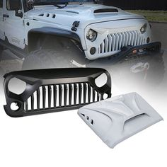 Xprite Beast Series Fiber Glass Hood and Grille Combo for 07-17 Jeep Wrangler