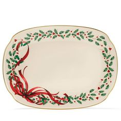 "Avon Exclusive! Lenox Holiday Ribbon Oblong Platter.   Porcelain, hand wash, 15.25"" l. Shop for this and other Avon exclusives at http://kgarst.avonrepresentative.com #avon #avonliving"