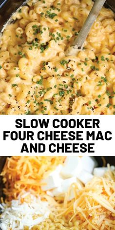 The BEST mac and cheese EVER! No boil. No stress. Everything gets thrown right in. Even the uncooked noodles! Recipes slow cooker Slow Cooker Four Cheese Mac and Cheese Slow Cooker Pasta, Crock Pot Slow Cooker, Slow Cooker Recipes, Crockpot Recipes, Cooking Recipes, Crockpot Mac N Cheese Recipe, Crockpot Dishes, Dinner Crockpot, Cheap Clean Eating