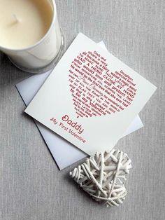 Daddy Valentine Card, Unique Valentine Card for Daddy, Dad Valentine Cards, Father Daughter Valentine original poem written by seller Daddy Valentine, Valentines For Daughter, Valentines Day, Valentine Cards, Father Daughter, Daddy Poems, Amazon Card, Unique Words, Word Design