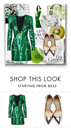 """Green style"" by fashion-336 ❤ liked on Polyvore featuring Z Spoke by Zac Posen, Balmain, Jimmy Choo and Balenciaga"