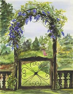 (Garden Gate by Cathy Johansen) ..... I know this is a painting but it looks like walking into a dream......