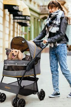 GIVE YOUR DOG A COMFY AND COSY PLACE TO RELAX WHEN YOU'RE OUTDOORS WITH THE IBIYAYA CLOUD 9 PET STROLLER! Perfect for dogs and small pets that are injured, disabled, or simply tired from long walks, the Ibiyaya Cloud 9 Pet Stroller provides a special place for your pet to rest as they enjoy their favourite outdoor adventures. Available in Mint Green or Mustard Yellow. #dogbuggy #dogstroller #dogtravel Pet Dogs, Dog Cat, Pets, Cat Stroller, Dog Travel, Cloud 9, Outdoor Adventures, Mustard Yellow, Dog Life