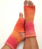 Yoga Socks Handknit in Pink and Orange