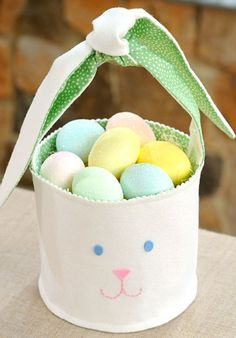 Make your own Easter Basket! Try this DIY Easter Bunny Basket with fabric