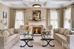 Traditional Living Room - Classic manor inspired home in Illinois