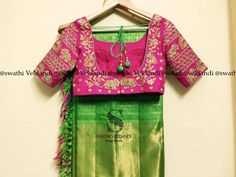 Lovely green color designer saree and pink color designer blouse with floret lata elephant design hand embroidery gold thread work. 09 October 2017