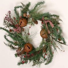 Rusty Bells Winter Greenery Wreath 7F4901 | Buffalo Trader Online