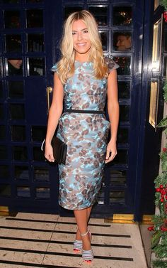 Effortless: Mollie King cut a glamorous figure as she arrived at the Sunday Times Style Ch. Mollie King, Satin Jumpsuit, King Fashion, Kate Spade Clutch, Kelly Brook, Lindsay Lohan, Metallic Dress, Ermanno Scervino, Red Satin