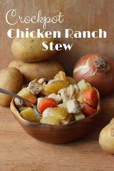 Everyone needs more Crockpot recipes, right? Check out this Crockpot Chicken Ranch Stew. Hearty, delicious and easy for dinner. via @merry120