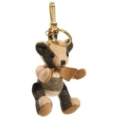 Women's Burberry 'Thomas Bear' Check Cashmere Bag Charm ($150) ❤ liked on Polyvore featuring accessories, camel and burberry