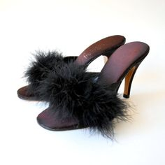 """Vintage Frederick's of Hollywood Marabou Mules from 1950s. We made mules for them in the 50s so there is a good chance this is from our old Middletown Factory"" Jacques Levine"