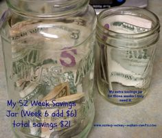 Are you doing the 52 Week Saving Challenge Its week 6 add 6 to your savings jar You should have 21 dollars saved to date Money Saving Tips, Saving Ideas, 52 Week Saving Plan, 52 Week Savings Challenge, Savings Jar, Living On A Budget, Mind Body Soul, Frugal, Helpful Hints