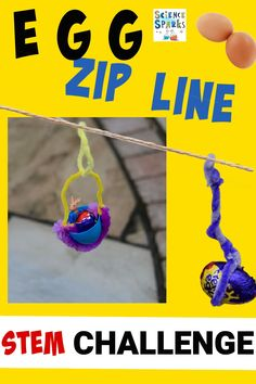 easy egg zip line STEM challenge. A fun egg experiment or Easter STEM challenge and great outdoor science activity too! Science Experiments Kids, Science For Kids, Easter Activities, Educational Activities, Stem For Kids, Stem Science, Stem Challenges, Classroom Themes, Fun Learning