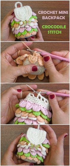 Crochet Mini Backpack Crocodile Stitch - Free Pattern [Video]