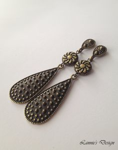 Teardrop Antiqued Brass Dangling Earrings, Free Shipping within USA