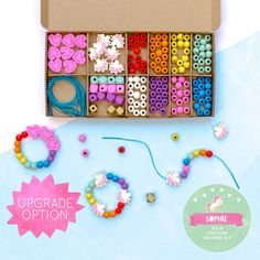 Personalised Unicorn And Rainbow Bracelet Making Kit by Cotton Twist, the perfect gift for Explore more unique gifts in our curated marketplace. Unicorn Gifts, Unicorn Party, Rainbow Unicorn, Unicorn Birthday, Craft Box, Craft Kits, Diy Kits, Christmas Stocking Fillers, Wooden Hearts