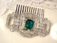 1920s Emerald Green & Clear Rhinestone Hair Comb by AmoreTreasure
