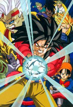 Goku, Pan, Gohan, Trunks, Uub, Goten, and Baby Vegeta