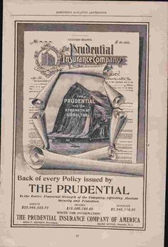 1898 Magazine Print Advertisement AD The Prudential Insurance Company - Advintage Plus Vintage Advertisements, Ads, Print Magazine, Ephemera, Magazines, Times Square, Advertising, Journals, Vintage Ads