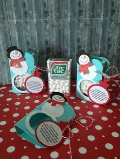 A set of THREE Tic Tac Snowman Poop Party Favors Christmas gifts on Etsy, $5.99
