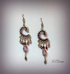 Fligree Victorian Earrings,Antique Renessance jewelry,Romantique Vintage style earrings.Chandelier Earrings.Amethyst beads earrings