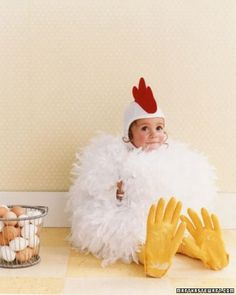 chicken - my mom made me dress up like a chicken when i was in kindergarten and i HATED it.  Now... I think it is the cutest thing ever.... #halloween #costumes