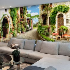 Wall mural of the beautiful street in a rural town where all houses are decorated with plants and vegetation. Interior House Colors, Interior And Exterior, Dream Home Design, House Design, Papier Paint, 3d Wall Murals, Dream Wall, 3d Wallpaper, Room Themes