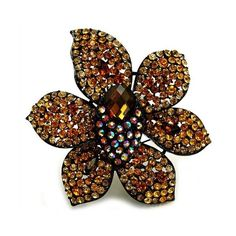 Yemena's Fine Brown Swarovski Crystal Flower Brooch ($50) ❤ liked on Polyvore featuring jewelry, brooches, brooch, accessories, flowers, brown jewelry, swarovski crystal brooch, swarovski crystal jewellery, blossom jewelry and fantasy jewelry box