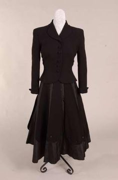 5d22949070 Black taffeta and wool suit by Irene