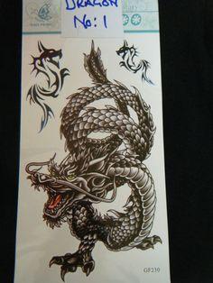 LARGE BLACK CHINESE DRAGON TEMPORARY TATTOOS