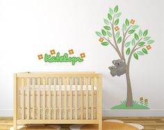 Koala Bear Tree Nursery Decals Tree Wall by LullaberryDecals Tree Decal Nursery, Kids Room Wall Decals, Baby Nursery Decor, Wall Art, Custom Vinyl Wall Decals, Tree Wall, Room Inspiration, Rooms, Bear