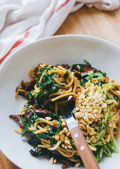 Not sure what to do with collard greens? Try them in these sweet shiitake peanut noodles! Gluten Free + Vegan
