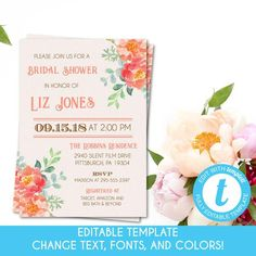 5da91383cd9e Self-Edit Template Printable Pink and Coral Floral Bridal Shower  Invitation