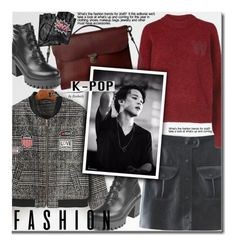 """""""K-POP"""" by beebeely-look ❤ liked on Polyvore featuring Wood Wood, Ally Capellino, Karl Lagerfeld, StreetStyle, kpop, sammydress, bomberjackets and puleatherskirt"""