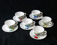 Vintage 1950s Westmoreland Fruits Cup and Saucer Sets in Milk Glass White. Beaded Edge, line 22 was introduced circa 1950 featuring a beaded edge often with hand painted fruits in the center.