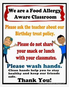 Food Allergy Aware Classroom poster.