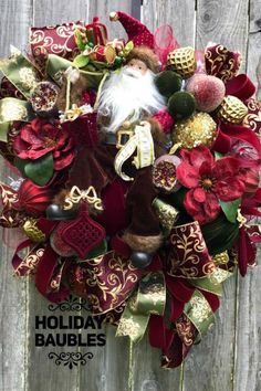 Showcasing some wreaths, swags, door hangers, and centerpieces created by talented designers on the Trendy Tree Custom Wreath Designer List. Santa Wreath, Christmas Wreaths To Make, Christmas Crafts, Whimsical Christmas, Elegant Christmas, Christmas Centerpieces, Christmas Decorations, Old World Christmas Ornaments, Wreath Making Supplies