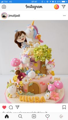 Birthday Cakes Girls Kids, Baby First Birthday Cake, Birthday Party Planner, Unicorn Birthday Parties, Girly Cakes, Cute Cakes, Cake Structure, Beautiful Cake Designs, Woodland Cake