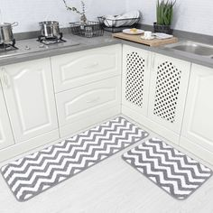 Carvapet 2 Pieces Microfiber Chevron Non-Slip Soft Kitchen Mat Bath Rug Doormat Runner Carpet Set #KitchenDecor