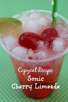 Limeade {Copycat Recipe} - Wheel N Deal Mama - Do you love Sonic's classic Cherry Limeade? Th -Sonic Cherry Limeade {Copycat Recipe} - Wheel N Deal Mama - Do you love Sonic's classic Cherry L.Cherry L Summer Drinks, Fun Drinks, Beverages, Sonic Drinks, Refreshing Drinks, Kfc, Chipotle, Sonic Cherry Limeade, Gourmet