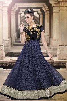 Blue Anarkali Salwar Kameez Online From Skysarees