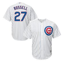 7408d1955 Men s Chicago Cubs Addison Russell  27 Majestic White Replica Cool Base  Player Jersey